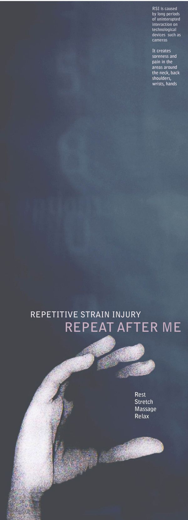 repetitive strain injury essay Guide for young people: how to avoid rsi this is intended as a brief guide for young people, to make them aware that using computers with a keyboard and mouse, playing on games consoles, and texting on mobile phones can cause repetitive strain injuries.