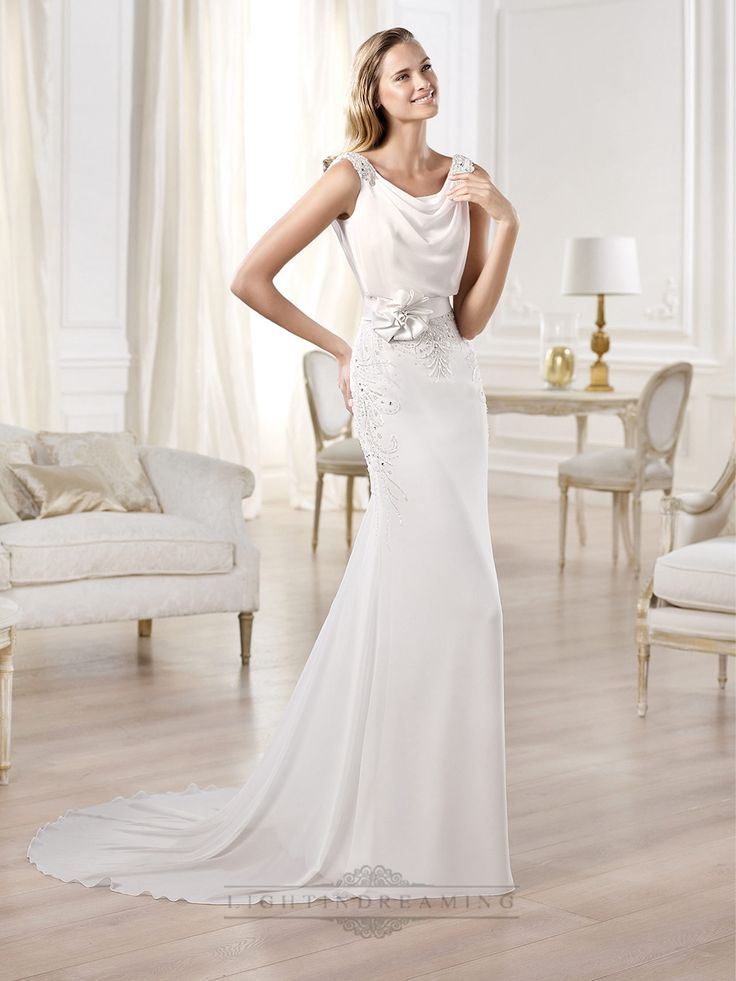Beaded Straps Draped Boat Neck And Back Wedding Dresses Featuring Applique