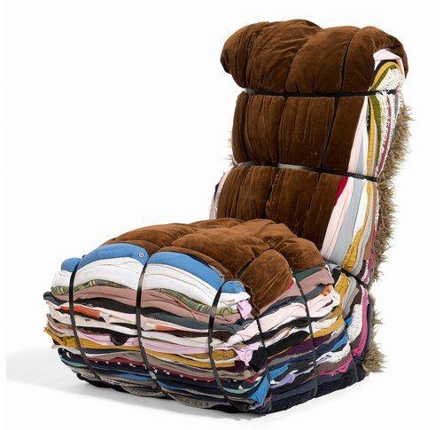 Rag Chair - Droog Design - recycler - transformer - assemblage de vieux vêtement pour former un fauteuil