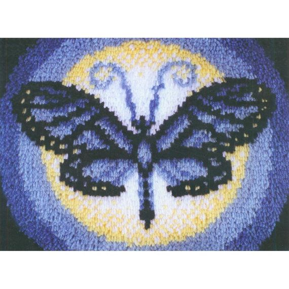Wonderart Latch Hook Kit 15X20 Blue Butterfly By Craftitinc