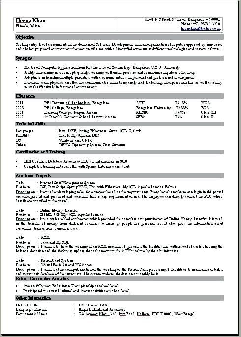 1 Page Resume Format For Freshers 3-Resume Format Resume format