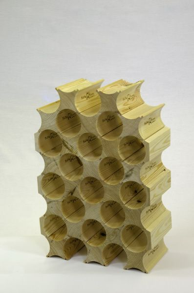 Bottle Block Wine Rack - 2 Pack-Made from the finest quality pine, Bottle Block Wine Racks can be easily assembled to fit any space and can be seamlessly added to - no tools/adhesives are necessary.