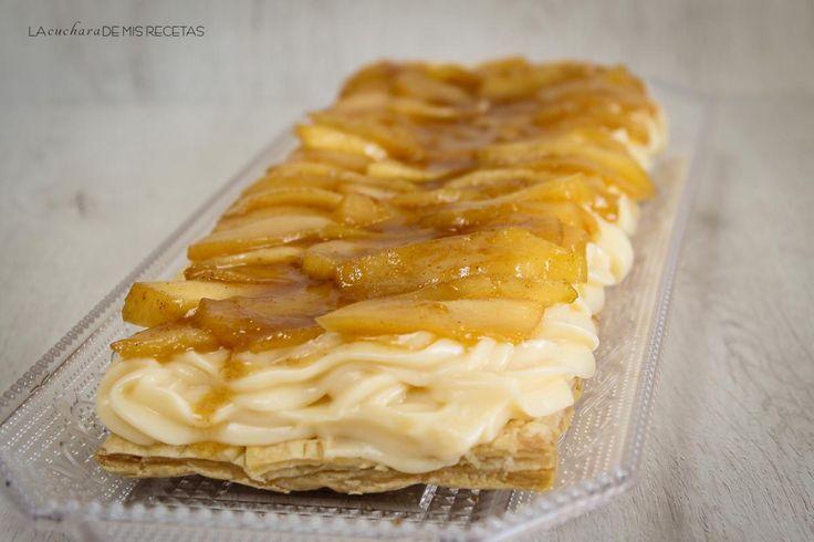 Hojaldre con crema pastelera y manzanas caramelizadas | https://lomejordelaweb.es/