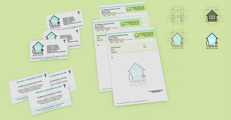 Identidad corporativa para Medicos en Casa. (Se compone de diseño de logotipo, recetarios y tarjetas).