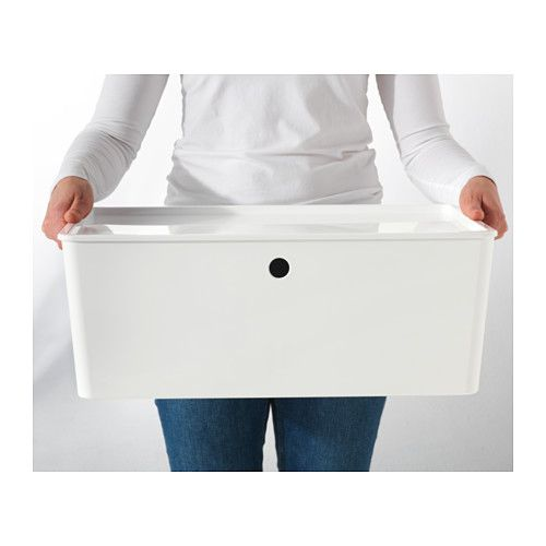 KUGGIS Box with lid, white white 14 ½x21 ¼x8 ¼ - bath toys and other stuff in living room