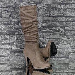 - Laarzen: Gesmokte Suede-Look Laars Khaki
