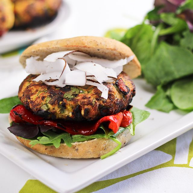 Tropical Chicken Burgers. Ground chicken with bell peppers, mango, and coconut inside! Yum.