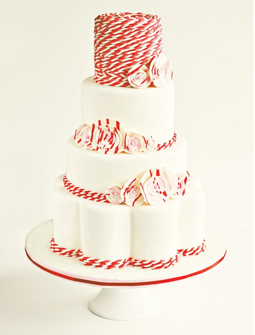 Cool red and white striped wedding cake