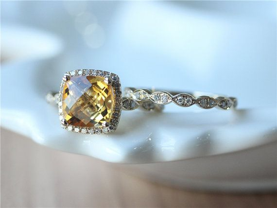 Two Rings–8 mm Cushion Cut Citrine Engagement Ring Set/ Citrine Ring / Wedding Ring Set / Engagement Ring/ Promise Ring/Anniversary Ring