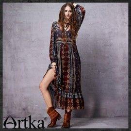 Этническое платье с оборкой по низу