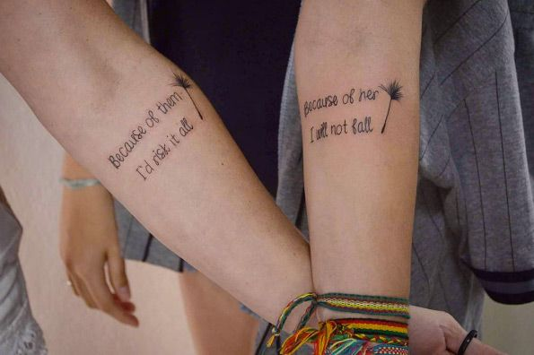 Matching quote tattoos by Tattoo Venegas