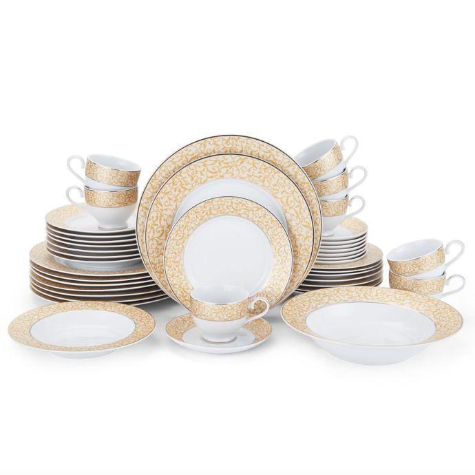 Mikasa Parchment Gold 42 Piece Dinnerware Set Gold Dinnerware Dinnerware Sets Dinnerware Set