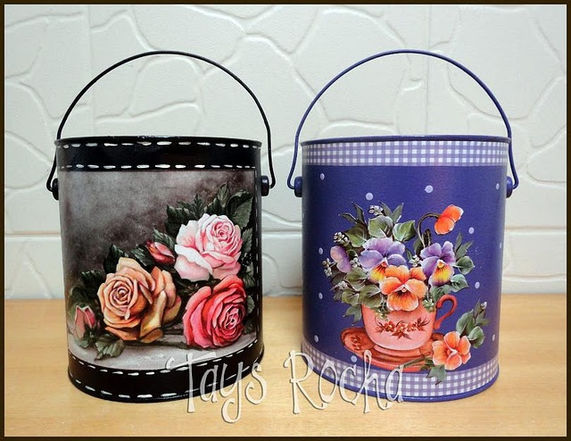 Latas recicladas com decoupage e pintura #can #recycling #decoupage #crafts                                                                                                                                                     Mais