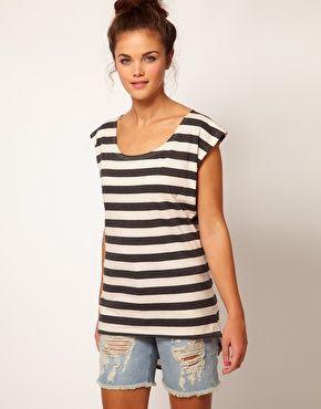 Enlarge River Island Stripe Dipped Hem T-Shirt $23.20: Stripe Dipped, Affordable Pieces, River Island, 19 Affordable, Closet, Lucky Magazine