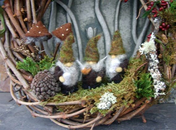 Woodland Gnome Grapevine Wreath... Made to order by woolcrazy