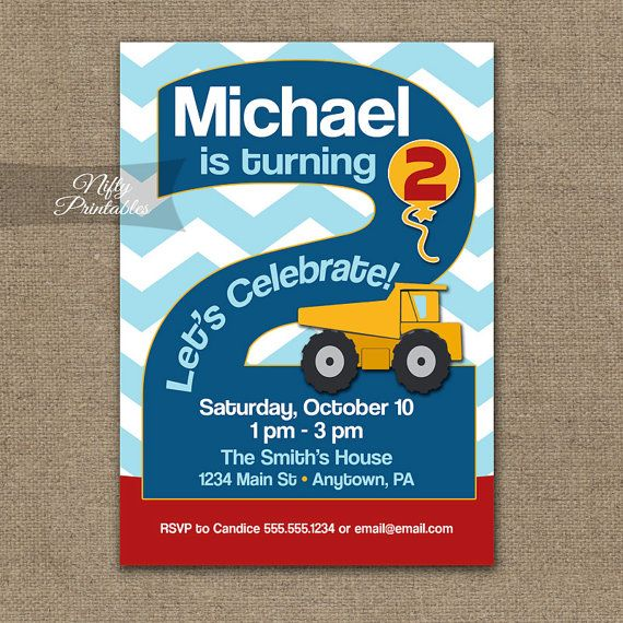 Boys 2nd Birthday Invitation Construction by NiftyPrintables
