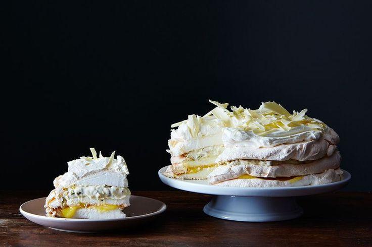 Lemon Meringue -- meringue, pistachio, lemon curd, whipped cream, and white chocolate