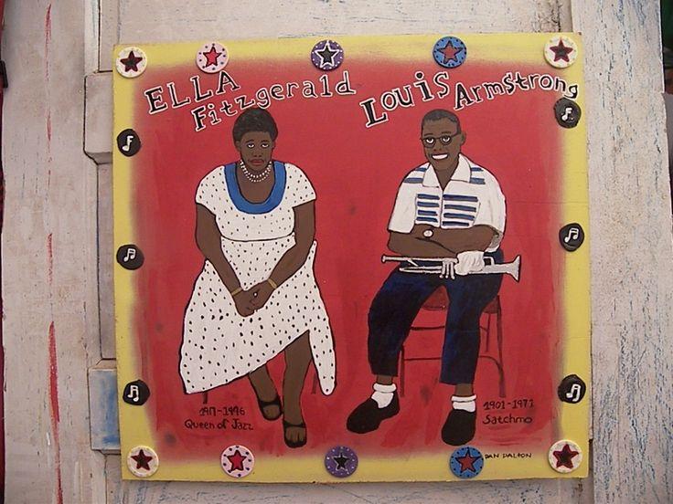 Ella Fitzgerald , Louis Armstrong, jazz, blues folk art, jazz art, new orleans