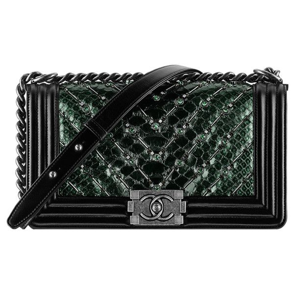 green Chanel ❤ liked on Polyvore featuring bags, handbags, chanel, bolsas, snake print purse, chanel purse, chevron purses and green purse