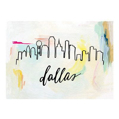 """The Dallas skyline against abstract brush strokes. Original illustration with hand lettering by Patricia Shen. - 5"""" x 7"""" - Printed in full color on heavyweight cover paper"""