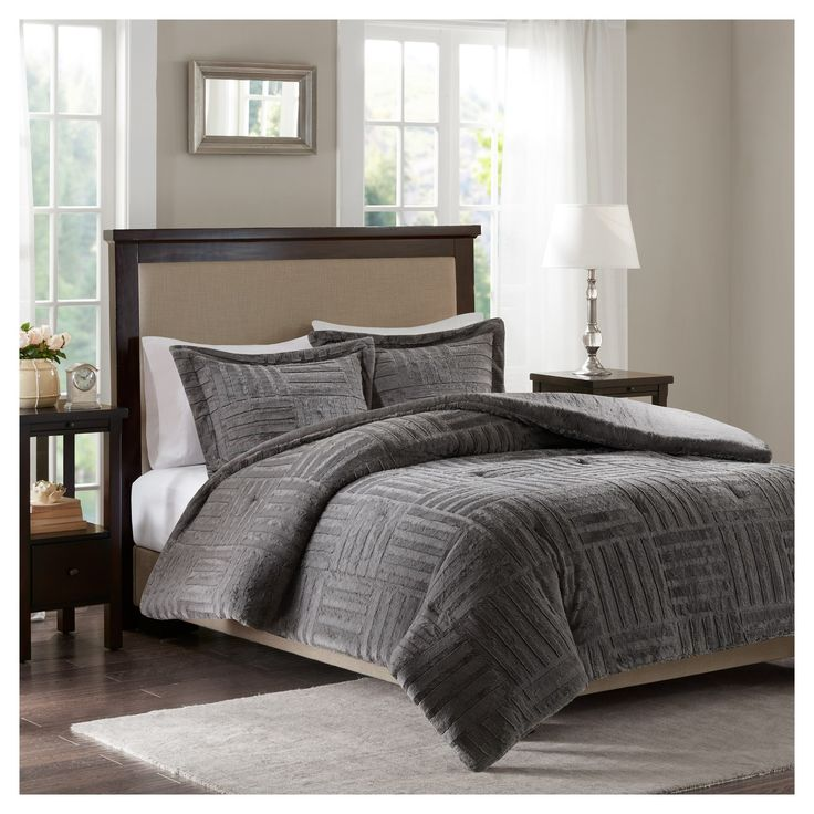 Add warmth and comfort to your bed with the Polar Brushed Faux Fur Comforter Mini Set. The faux fur is incredibly soft and smooth and features a checkboard design for added texture and dimension. The set includes 2 shams (1 sham for T size) and is machine washable for easy care.