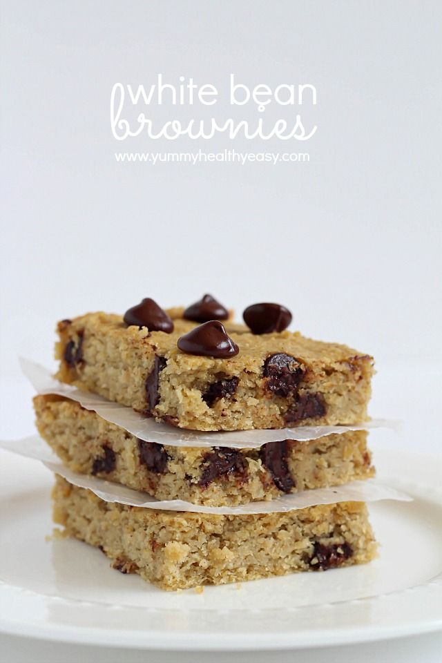 White Bean Brownies - gluten free brownies made using garbanzo beans (aka chickpeas) instead of flour. Soft, easy to make, delicious and healthy! #glutenfree #flourless