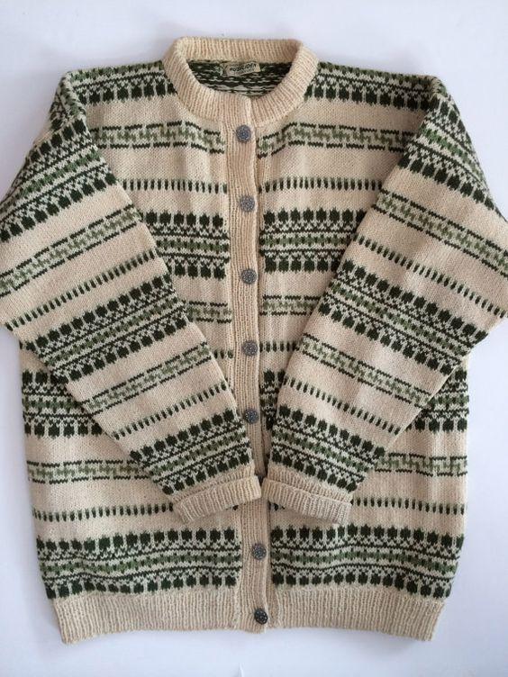 Norwegian Sweater Scandinavian Hand Knit - Lovely Nordic Stripe Design in Greens…