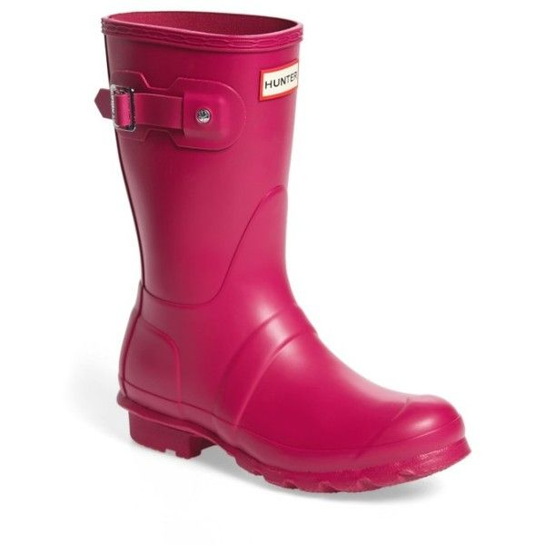 Women's Hunter Original Short Rain Boot ($140) ❤ liked on Polyvore featuring shoes, boots, dark ion pink, short rain boots, hunter boots, short shoes, pink rain boots and wellington boots