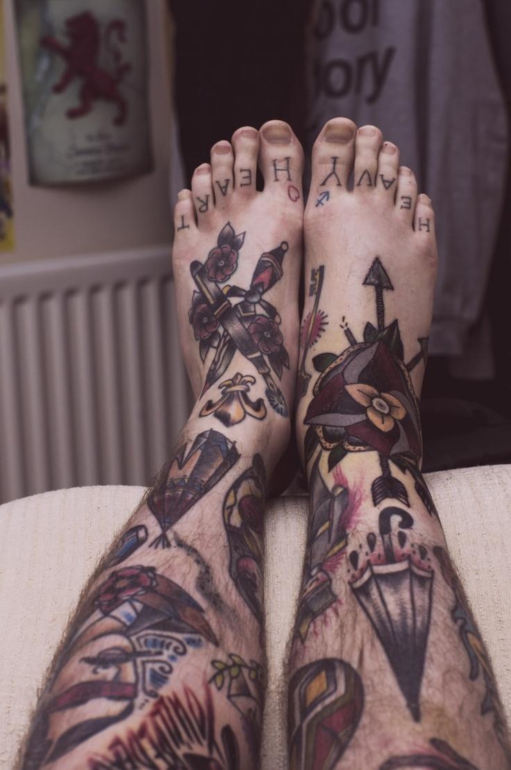 Tool box tattoo by mark old school tattoos by mark pinterest - Feet And Legs Tattoo