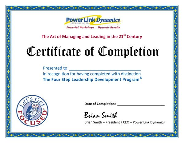 Certificate of Completion for having completed with distinction - example of certificate of completion