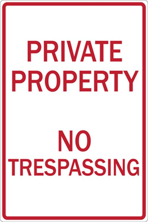 2275 ZING Sign, PRIVATE PROPERTY NO TRESPASS, 12X18 EGP