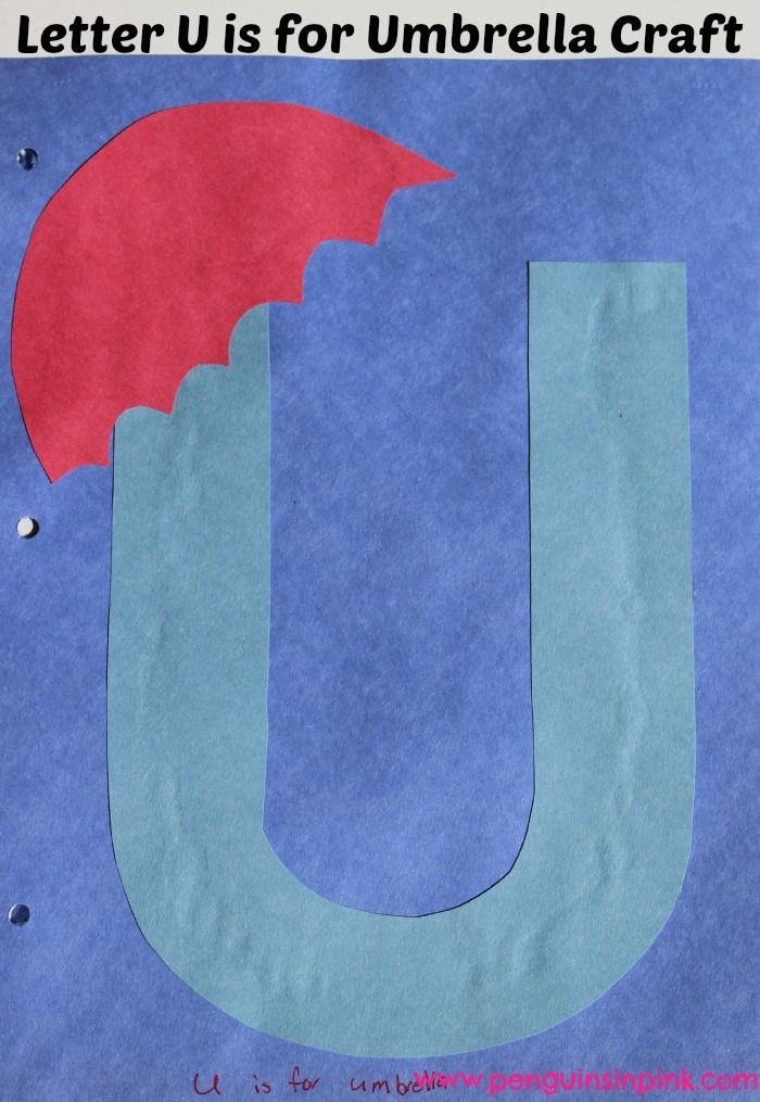 Letter U is for Umbrella and Underwater Craft- A fun letter craft making an Umbrella out of a large capital letter U and an underwater scene out of a large lower case letter u with directions and free printable letter too. #homeschooling #totschool #craft #printable