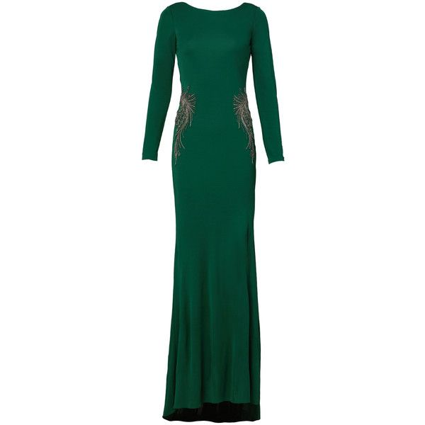 Rental Badgley Mischka Kelly Green Gown (€110) ❤ liked on Polyvore featuring dresses, gowns, green, boatneck dress, longsleeve dress, badgley mischka dresses, boat neck dress and long sleeve ball gowns