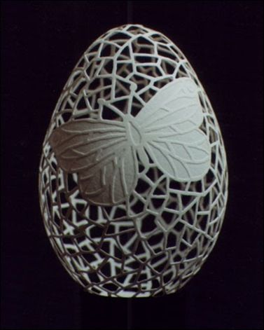 Carving out of egg shell. wow