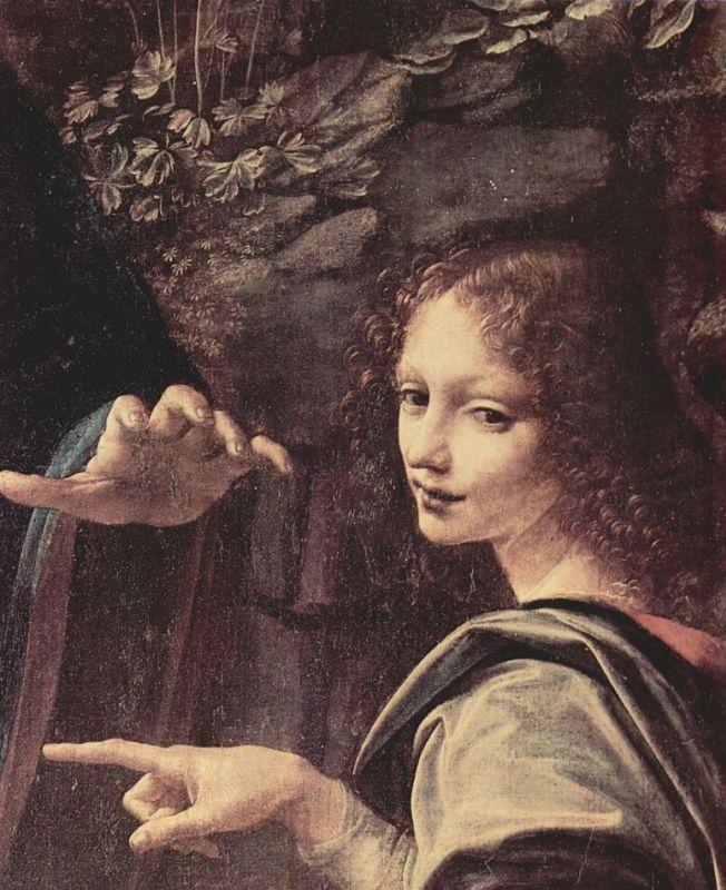 Леонардо да Винчи. Мадонна в гроте, сцена: Мария с младенцем Христом, младенецем Иоанном Крестителем и ангелом, деталь: Ангел