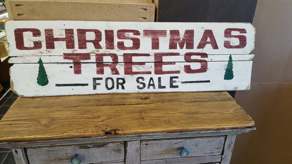 Large hand painted Christmas Trees For Sale sign on reclaimed wood. Measures approximately 43 wide x 13 tall