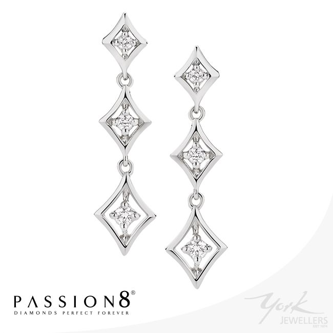 Delicate Passion8 Diamond drop earrings in white gold. Available at York Jewellers.