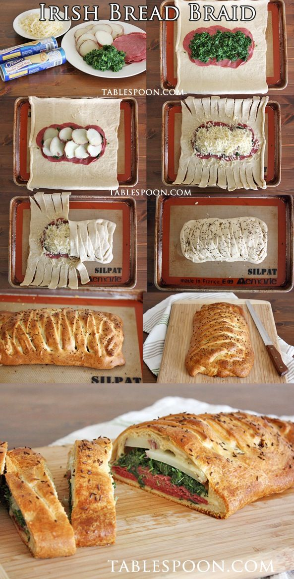 Irish Bread Braid - Food Recipes. Def would use different fillings, maybe chicken, pesto and feta?