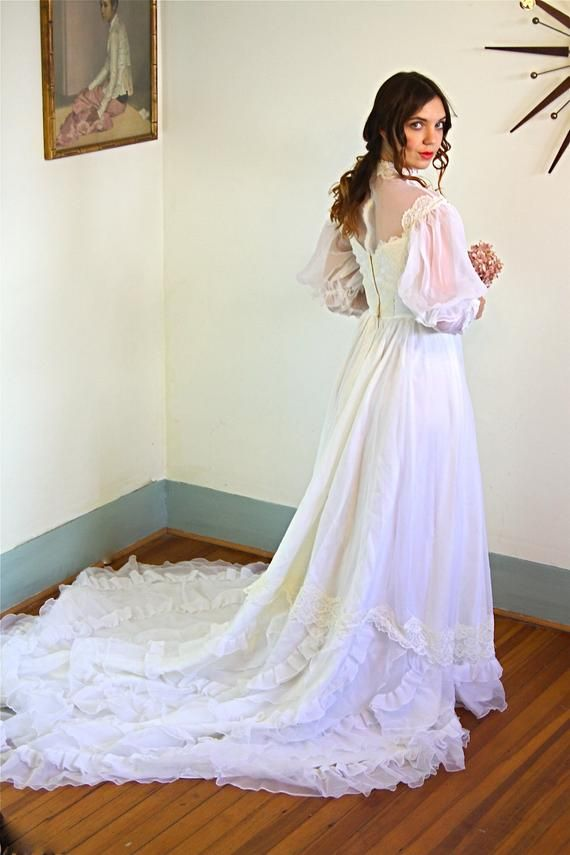 Boho wedding dress Vintage 70s WEDDING DRESS ivory white sheer long train 1970s BOHO long sleeve wedding gown seventies dress princess