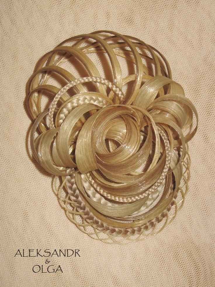 Украшение - ПУЧОК для Волос - постиж (из натуральных волос) с элементами плетения, мелирование, объёмный пучок http://www.aleksandr-and-olga.ru/ http://www.livemaster.ru/hair-jewellery