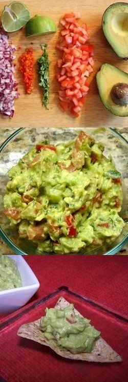 Guacamole Recipe: Yum! 3 avocados- mashed, 1 lime- juiced, salt // 1/2 c. diced onion, 3 T choppd frsh cilantro, 2 roma (plum) tomats- diced, 1 tsp minced garlic, 1 pinch grnd pp // Refrig 1-2 hrs for best flavor/srv immed.