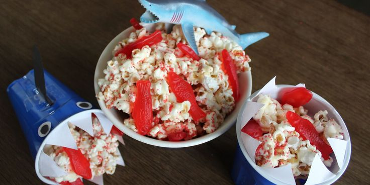 Shark Bait (popcorn) HOO HA HA! This delicious Shark Week themed popcorn recipe will have your pups circling for a delicious taste!