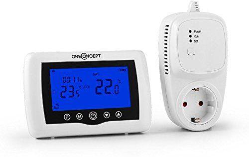 oneConcept STF-51 Thermostat radiateur sans fil (plan hebdomadaire 5+1+1, fixation murale, 868 MHz, batterie, réglage automatique de la…