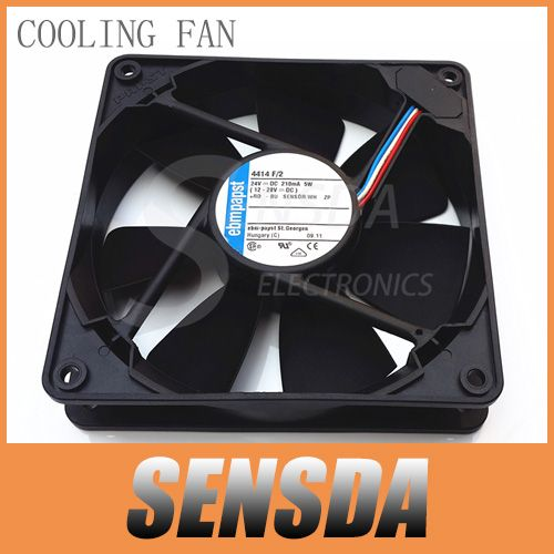 Free Shipping ebm papst 4414 F/2 120mm 12cm DC24V 5W Server Square axial cooling fans 120x120x25 mm 3-wire