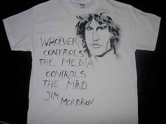t shirt with Jim Morrison and his quote hand by pacifictimes, $20.00