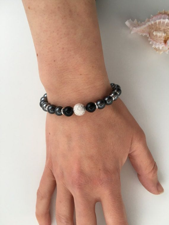 Shades of grey bracelet Swarovski pearl bracelet with black