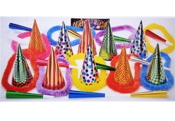"""This assortment for 10 people includes: 10 Deluxe 9"""" foil party hats, 10 foil party horns, 10 Hawaiian leis"""