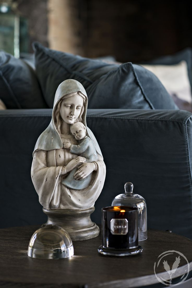 Mary and Baby Bust, Black Dome Candle - Wild Frangipani http://www.frenchcountry.co.nz/