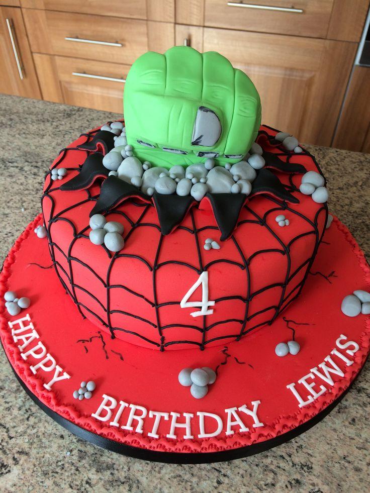 Spiderman And Hulk Cake Ideas