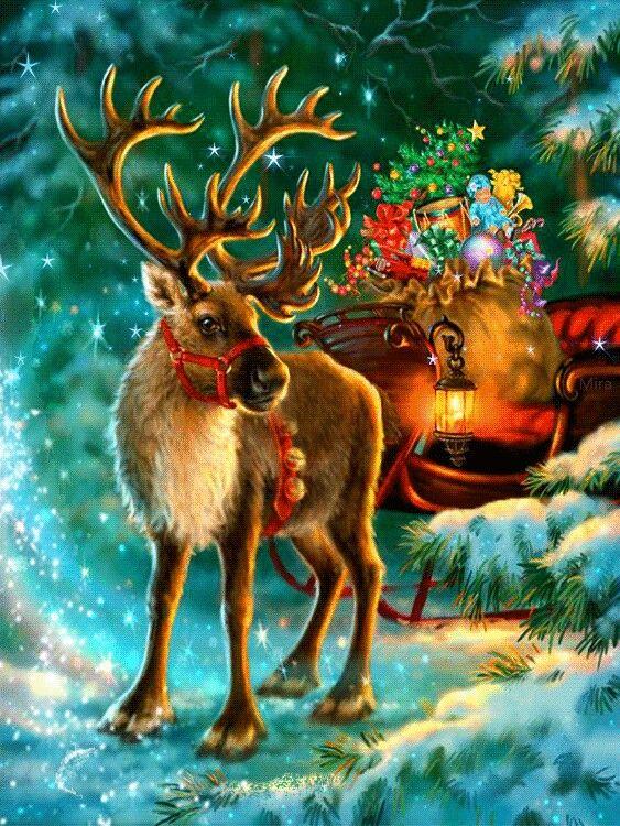Открытки новый год с оленями, открытки